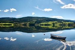 Beautiful Norwegian lake with mirror effect during sunny day