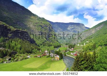 Beautiful Norwegian Landscape taken at Flam (Norwegian: Flamsbana),  Aurland. - stock photo