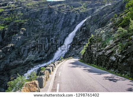 Beautiful Norwegian nature, mountains, gorges, mountain river and mountain road