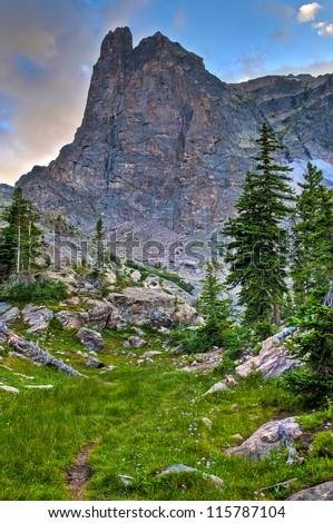 Beautiful Notchtop Mountain at Sunset near Lake Helene Rocky Mountains Colorado