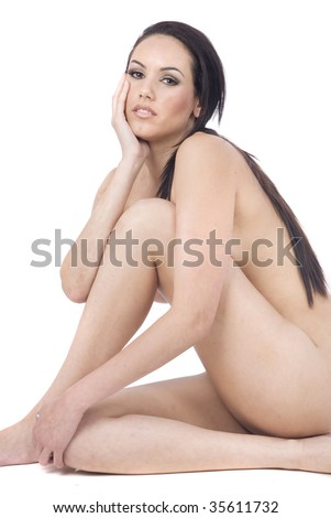 stock photo : beautiful nude model healthy body care in white background