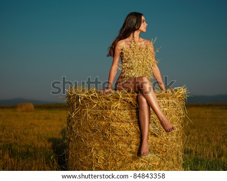beautiful nude woman sitting on hay stack - stock photo