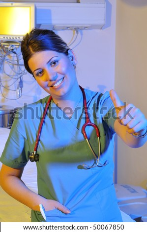 Beautiful nurse at hospital emergency room intensive care - a series of emergency room photos.