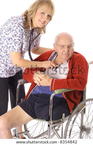 beautiful nurse checking elderly patient