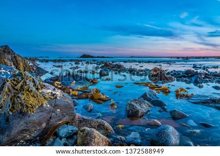 Beautiful ocean coastal shoreline scenery landscape seascapes of Cape Sable Island, Nova Scotia.