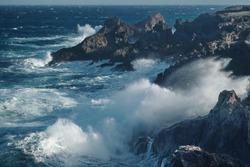 beautiful ocean is raging big  waves