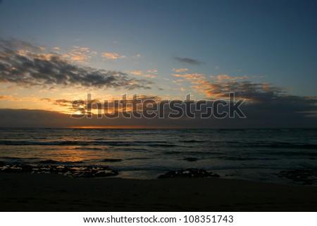 Beautiful Ocean Sunrise on Kauai Island Hawaii