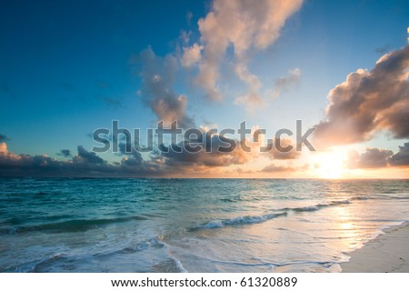 Beautiful ocean sunrise sunset
