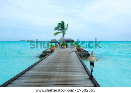 beautiful ocean view from tropical island in Maldives
