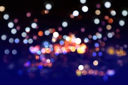 Beautiful of night bokeh light, abstract blur defocused background. Colorful glitter lights for layout design, background concept or festival background.
