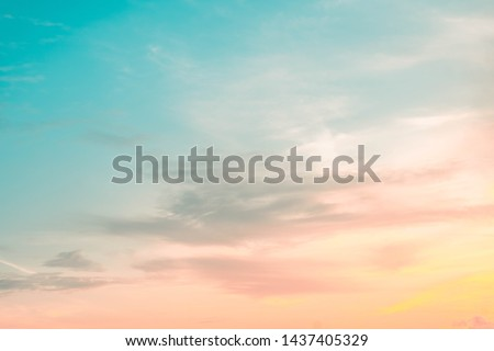 beautiful of Stratus cloud in sunset background for forecast and meteorology concept #1437405329