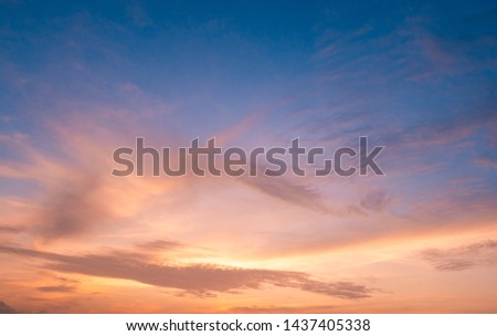 beautiful of Stratus cloud in sunset background for forecast and meteorology concept #1437405338