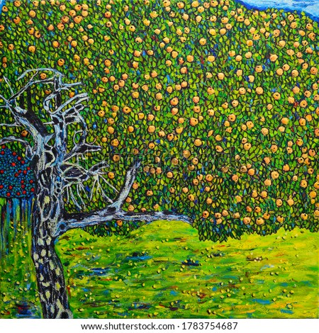 Beautiful Oil Painting apple tree. Free copy is based on a photo reproduction of a wonderful painting by Gustav Klimt -The Golden Apple Tree- that was burned down in a fire.