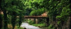 Beautiful old bridge in Baile Herculane Romania