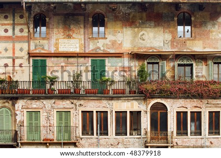 Beautiful old building on historical Piazza delle Erbe, Verona, Italy