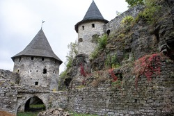 Beautiful old castle towers. Stone architectural structure.