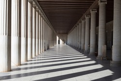 Beautiful old Colonnade of the Ancient Agora of Athens in Greece