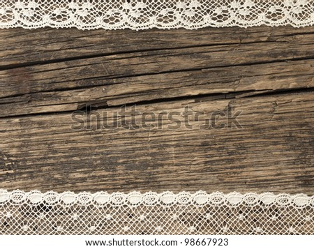 beautiful old fashion lace on the wooden background