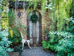 Beautiful old front doorway brick house