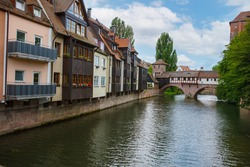 Beautiful old houses and bridges over the canals in Nuremberg, Bavaria, Germany