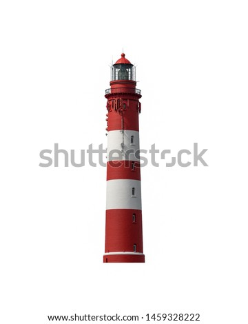 beautiful old lighthouse, red white, North Sea, Amrum, isolated on white background