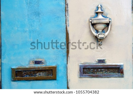 """Beautiful Old Metallic Mail Slots at Porto, Portugal with the Portuguese word for """"Letters""""  """"Cartas"""" #1055704382"""