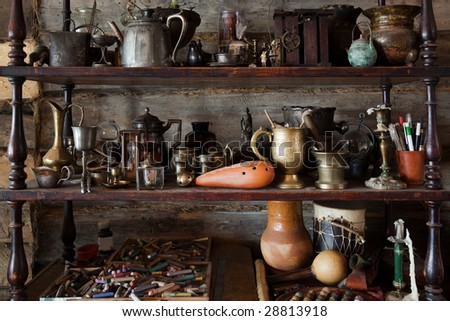 beautiful old objects in the studio of the artist