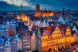 Beautiful old town in Gdansk at winter dusk, Poland
