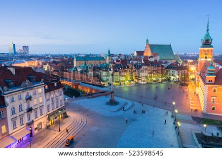 beautiful Old Town in Warsaw at dusk, Poland #523598545