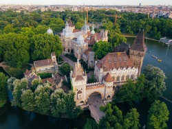 Beautiful old Vajdahunyad Castle in Budapest shoot on drone