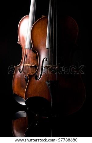 Beautiful old violin on dark background
