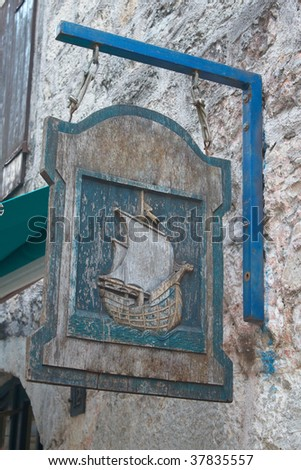 Beautiful old wooden sign