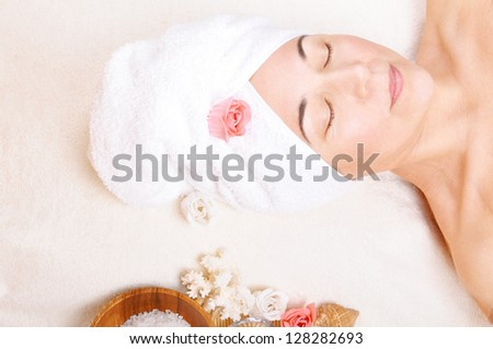 beautiful older woman and a spa concept