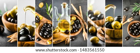 Beautiful olives collage of various dark and light olive pictures. Large olives details collection. Background banner or wide panorama photo. #1483561550