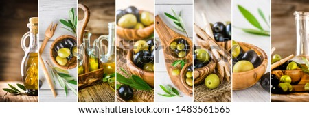 Beautiful olives collage of various dark and light olive pictures. Large olives details collection. Background banner or wide panorama photo. #1483561565