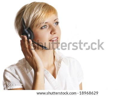 Beautiful operator talking - stock photo
