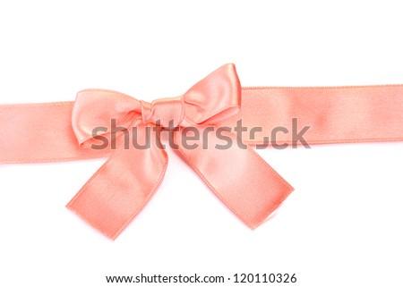 beautiful orange satin bow and ribbon isolated on white