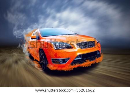 Beautiful orange sport car in fire