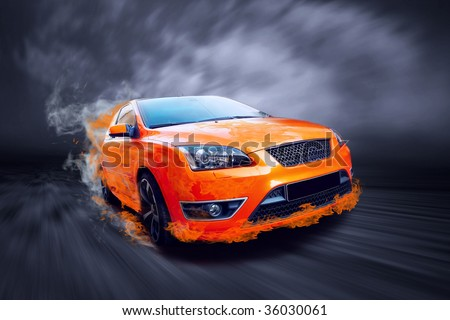 Beautiful orange sport car in fire
