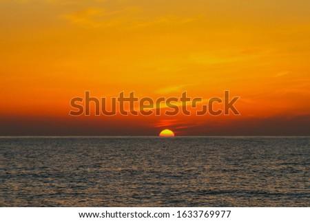 beautiful orange sunrise on the sea, sunrise on the sea