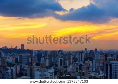 Beautiful Orange Sunset over Belo Horizonte City Skyline in Brazil
