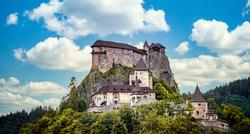 Beautiful orava castle. in Oravsky Podzamok in Slovakia. Orava region. Slovakia landscape. Travel. concept.