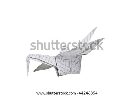 beautiful origami (crane) bird on a white background