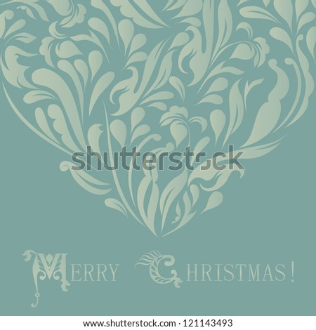 Beautiful ornament for merry christmas card raster version - stock photo