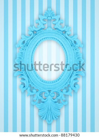 Beautiful ornamental frame on a pink stripy background