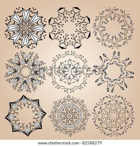 Beautiful ornamental rosettes set. For ethnic or tattoo design. Raster version.