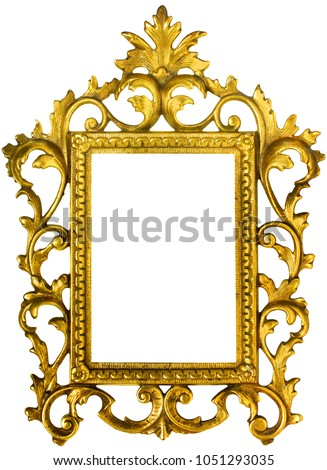 Beautiful ornate golden colored picture frame isolated on white with paths  for frame and inside of frame #1051293035