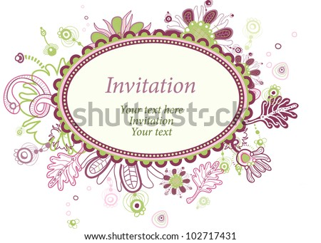 Beautiful oval invitation or greeting card with floral decor.