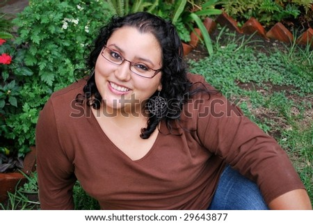Beautiful overweight Hispanic woman