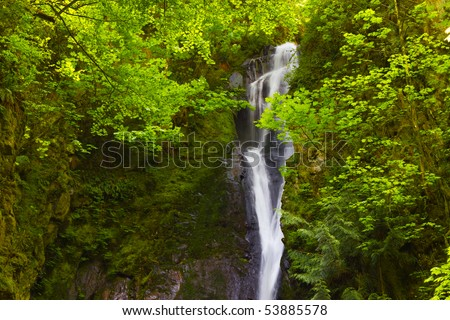 Beautiful Pacific North West waterfall with lots of copy space on the left.